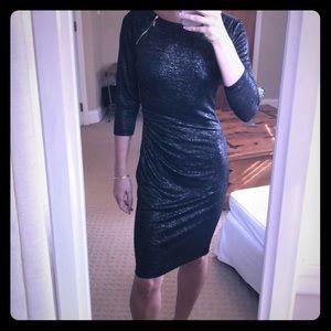 Black and gold shimmer 3/4 sleeve dress